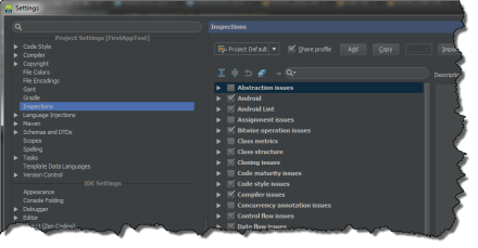 Android Studio Inspection Settings
