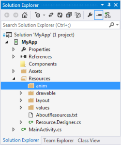Solution Exlporer Resources anim folder